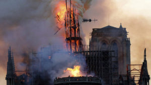 Notre Dame Cathedral on fire, spire collapsing
