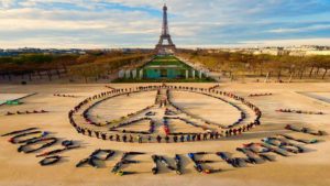 The Eiffel Tower in Paris has become a symbol for climate change activism.