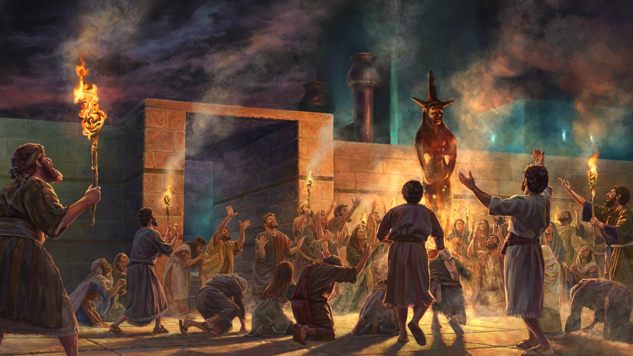 "Prophet Ezekiel sees the ""image of jealousy"" at the north gate of the Jerusalem temple"